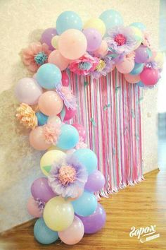 Very Peru for a little girls birthday party - Baby Shower Party Decorations Unicorn Birthday Parties, First Birthday Parties, First Birthdays, Birthday Balloons, Rainbow Birthday, Birthday Ideas, Birthday Presents, Birthday Streamers, Birthday Backdrop