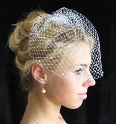birdcage veil, with pearls