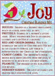 7 Best Images of Blessings Bag Poem Printable - Blessing Bag Cards Printable, Christmas Blessings and Thanksgiving Blessing Mix Printable Tags Christmas Snack Mix, Christmas Goodies, Christmas Printables, Homemade Christmas, Winter Christmas, Christmas Holidays, Christmas Stuff, Christmas Recipes, Christmas Favors