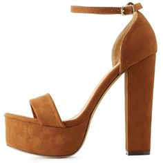 Charlotte Russe Chestnut Single Strap Chunky Platform Heels by... ($38) ❤ liked on Polyvore featuring shoes, pumps, chestnut, charlotte russe shoes, retro shoes, chunky heel pumps, platform shoes and platform pumps