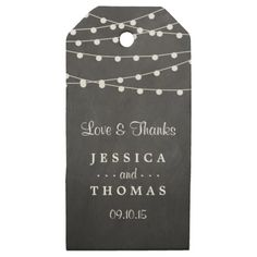 The String Lights On Chalkboard Wedding Collection Wooden Gift Tags