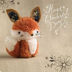 "Fox ""Tiddly pom pom"" by Eleri Fowler. This cute little pom pom fox is just one character from the family of teeny pom pom animals, produced for a brand new greetings card range for Paper Rose. Cute Crafts, Diy And Crafts, Craft Projects, Sewing Projects, Crafts For Kids, Arts And Crafts, Craft Ideas, Pom Pom Crafts, Yarn Crafts"