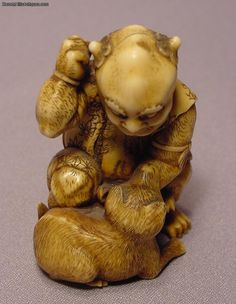 Extraordinary Carved Ivory Demon Bitten By Dog For Sale | Antiques.com | Classifieds