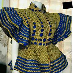 ankara peplum blouse and skirt styles Ankara Peplum Tops, Ankara Skirt And Blouse, Peplum Blouse, Ankara Long Gown Styles, Ankara Styles, Elegant Wedding Guest Dress, African Print Dress Designs, Blouse Styles, African Fashion
