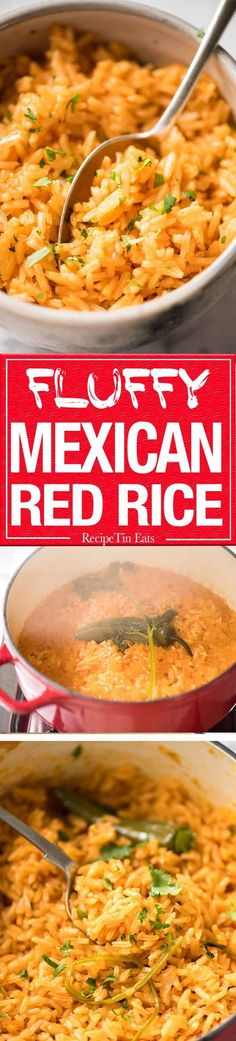 Fluffy, beautifully seasoned Mexican Red Rice (Arroz Rojo). Truly like what you get at restaurants! www.recipetineats.com