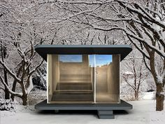Tiny Sauna by Studio Smeets by greentinyhouse Contemporary Saunas, Contemporary Chairs, Sauna House, Sauna Room, Sauna Design, Shed Design, Simple Dining Table, Camping Pod, Outdoor Sauna