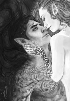 """annashoemaker: """"A little snippet of my current WIP. More fan art for the amazing A Court of Mist and Fury by Sarah J. Maas. I just love these two so much! *sobs* There is sill a long way to go and a lot of tweaking to do. The full illustration–in..."""