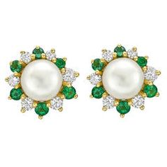 Tiffany & Co. Pearl Earstuds with Emerald Diamond Gold Jackets