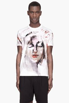 Givenchy White Brushstroke Abstract Madonna T-shirt for men | SSENSE
