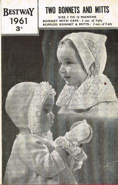 Bestway 1961 hat bonnet and mittens  vintage baby by Ellisadine
