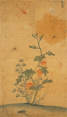 (Korea) 꽈리와 잠자리 by Lady Shin Saimdang (1504 ~1551). 44.2×25.7cm.  colors on paper. Private collection.