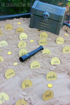 Pirate sight word treasure dig literacy game--- could do a sight word hunt around the school where kids record on treasure chest paper and earn gems for the number they find Sight Words, Sight Word Games, Sight Word Activities, Phonics Activities, Reading Activities, Tricky Word Games, Pirate Day, Pirate Theme, Pirate Activities
