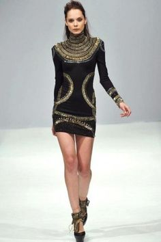 Stunning black and gold dress with egyptian features