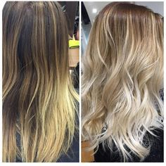 """*** Favorite. """"...before and after from brassy blond to a beautiful balayage sandy blond."""""""