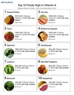 A printable list of the top 10 foods highest in vitamin A. Holistic Nutrition, Nutrition Tips, Health And Nutrition, Nutrition Poster, Nutrition Month, Nutrition Activities, Nutrition Education, Fitness Nutrition, Larissa Reis