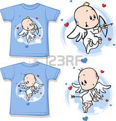 kid Shirt mit niedlichen Engel gedruckt - isoliert auf wei� photo