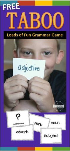 FREE Taboo Grammar Game makes practicing nouns, verbs, adjectives, adverbs, subjects, parts of speech, question marks, exclamation marks, homophones, and more lots of fun for first grade, 2nd grade, 3rd grade, 4th grade. NO PREP! Such a fun, easy to play game that is great practice in classrooms, learning at home, homeschool, and more.
