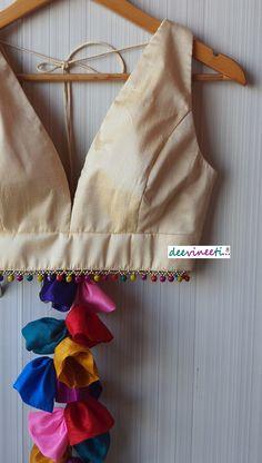 Blouse Designs High Neck, Fancy Blouse Designs, Bridal Blouse Designs, Saree Blouse Designs, Saree Tassels Designs, Choli Designs, Blouse Lehenga, Sleeveless Saree Blouse, Stylish Blouse Design
