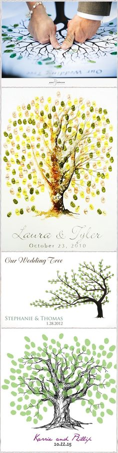 "The Wedding Tree~The tree starts w/ the bride and groom adding their fingerprints in the middle of the ""tree"" and then the tree ""grows"" leaves during the reception as each guest adds their leaf (fingerprint) to the tree- this but cherry blossoms instead Wedding Gifts For Bride, Tree Wedding, Wedding Wishes, Bride Gifts, Wedding Guest Book, Fall Wedding, Wedding Reception, Our Wedding, Wedding Signs"