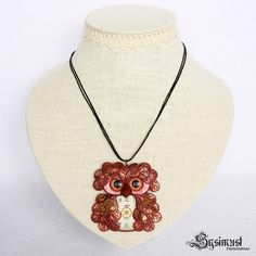 Purple steampunk owl necklace. Polymer clay by SysimustHandmade