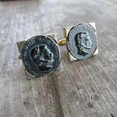 Unique Swank Coin Cuff Links  Faux Roman Coin by DresdenCreations