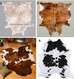 Where Cheap Cowhide Rugs are concerned, it is not necessarily that easy to tell when they're machine-made or handmade, parti Cowhide Decor, Cowhide Furniture, Western Furniture, Country Western Decor, Western Rooms, Rustic Decor, Home Design, Southwestern Decorating, Cow Hide Rug