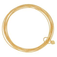 This set of 18-karat yellow gold over .925 sterling silver bangles is held together by a heart charm. Crafted in Italy, this set has a diamond-cut finish.