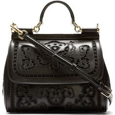 Dolce & Gabbana Μαύρο Floral Κεντημένα Δεσποινίς Σικελία τσάντα