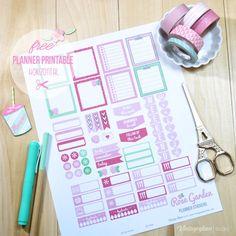 Rose Garden Planner Stickers | Free Printable - Horizontal Erin Condren Life Planners