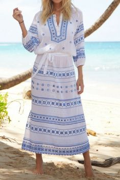 90a17b7f6329b LOLA EMBROIDERED COTTON KAFTAN Available in blue & white, our Boho,  gypsy inspired