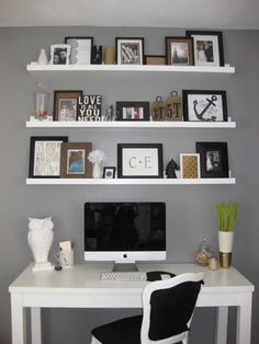 Love the shelves to the ceiling above a desk, diy shelves  desk... basic idea for my room