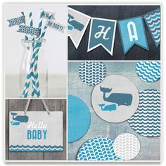 Big Whale Little Whale Baby Shower Party Decor  | Minted