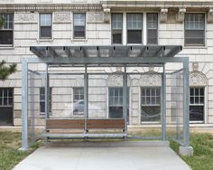 Bus shelter at the Commonwealth redevelopment along Armour. Designed by el dorado.