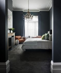 *The Master Suite is breathtaking – natural light streams in beautifully reflecting off of the dark walls, and the ornate chandelier takes center stage adding drama to the room. Gold Bedroom, Home Decor Bedroom, Modern Bedroom, Bedroom Ideas, Master Bedroom, Masculine Interior, Square Side Table, Scandinavian Bedroom, Bedroom Carpet