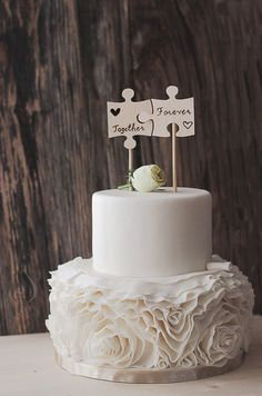Wood Puzzle Piece Cake Topper  Wedding Cake by FIREArtbykatrin