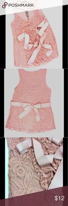 "Beautiful Blush Lace Tank Top A beautiful dark blush floral lace tank enhanced with a bow. Third picture shows the actual color best. Ribbon can be used in front or tied in back. Lined. You pick the look💜 pit to pit 15"", shoulder to hem 23"" Wet Seal Tops Tank Tops"