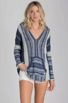 Dream of empty Baja breaks in this cozy seaside stripe Hooded poncho sweater. Free Shipping. Check out our new arrivals.