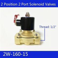 "Free Shipping 1/2"" 2 Position 2 Port Air Solenoid Valves 2W160-15 Pneumatic Control Valve , DC12V DC24V AC220V #Affiliate"