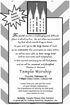 LDS Relief Society Activity; Temples