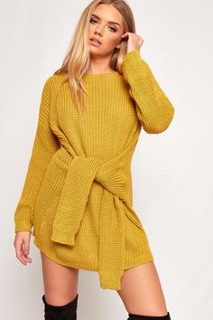 Olivia Tie Front Knitted Jumper Dress-88598-20