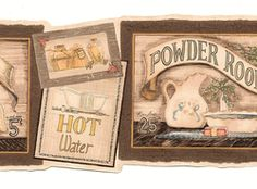 Bath Signs Wallpaper Border <br> CLEARANCE!! QUANTITIES LIMITED!!