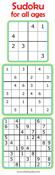 These printable Sudoku puzzles for kids are great to carry with you when you travel - 4x4, 6x6 and 9x9. Even young children can get started learning sudoku, and it's great number and problem solving practice!