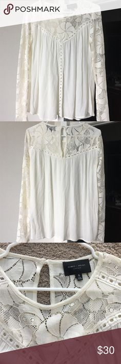 Lace Sleeve Blouse Lace upper inset, crew neck, long sleeves. I honestly love this shirt so much...I want to find a good home for it! Message me with any questions. Romeo & Juliet Couture Tops Blouses