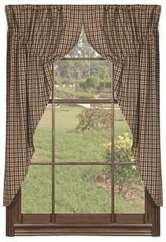 Vintage Star Black Window Prairie Curtains