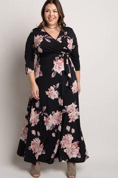 Black Floral Print Plus Wrap Maxi Dress Special Dresses, Plus Size Maxi Dresses, Plus Size Outfits, Cute Floral Dresses, Floral Maxi Dress, Plus Size Womens Clothing, Plus Size Fashion, Looks Plus Size, Moda Plus Size