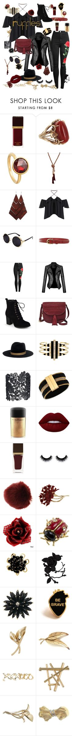 """""""Screw It"""" by hipsterchic100 ❤ liked on Polyvore featuring Tom Ford, Vintage, Astley Clarke, GUESS, Etienne Aigner, Journee Collection, FOSSIL, Janessa Leone, Noir Jewelry and MAC Cosmetics"""