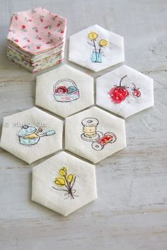 Embroidery and hexies -- good combination - no tutorial that I can find