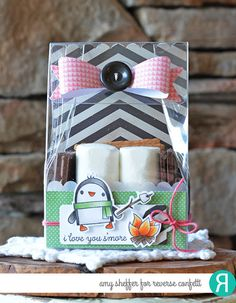 Gift package by Amy Sheffer. Reverse Confetti stamp set: S'more Love. Confetti Cuts: S'more Love, Layered Bows, In the Bag. Valentine's Day gift.