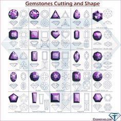 Gemstones Shape Chart and Gemstones Cutting Chart 2 Shape Chart, Jewelry Design Drawing, Game Gem, Colour Images, One Color, Stone Jewelry, Designs To Draw, Art Education, Tatoos