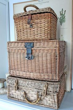 - Baskets and Boxes - Wicker Baskets Used As Extra Storage In The Small Spaces Staring at an untidy pile of magazines? The perfect solution: Storage baskets, Outdoor wicker baskets, Stackable wicker storage baskets, Wicker baskets. Old Baskets, Vintage Baskets, French Baskets, Vintage Decor, Wicker Picnic Basket, Wicker Baskets, Vibeke Design, Basket Weaving, Antiques